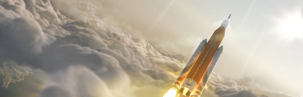 NASA_Space_Launch_System_Takes_Flight_sls-70mt-dac3-orange3-inflight-through-clouds-uhr