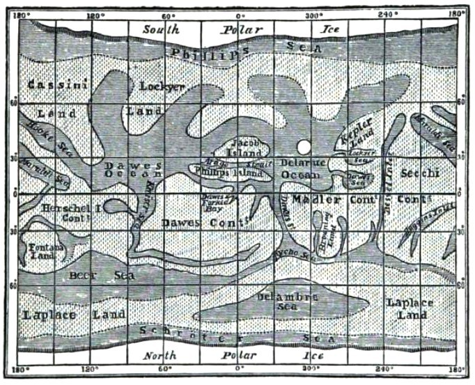 A map of Mars, by Richard Proctor, published posthumously in 1905