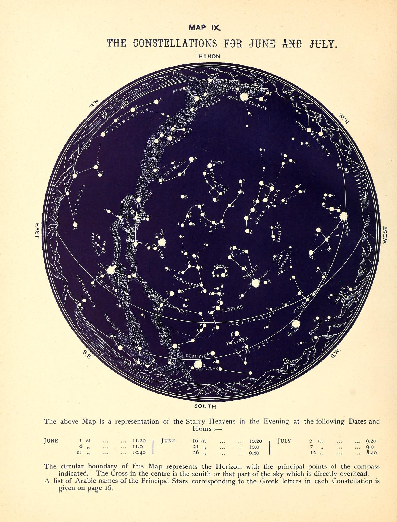 Scientific Illustration of a star map; the constellations of the summer months