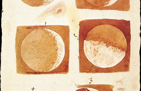Scientific illustration by Galileo Galilei of the moon's phases, showing its craters and mountains.