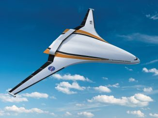 scientific illustration of a blended wing aircraft, or hybrid wing body, a jet concept tested by NASA