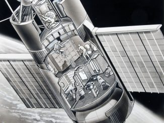Scientific illustration of Skylab by Russ Arasmith, NASA