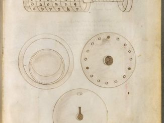 Scientific illustration of an early combination lock from Giovanni de Fontana