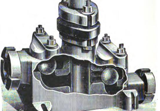Scientific illustration of a pump with ball valves, from a textbook on mechanics and mechanical engineering