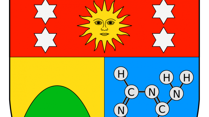 Scientific illustration in heraldry; the coat of arms of the Marquis d'Oró, showing a chemical diagram in the lower sinister quarter.