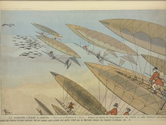 Scientific illustration of a dirigible hunt, a cartoon of balloons and zeppelins and blimps all aiming at a flock of birds in midair