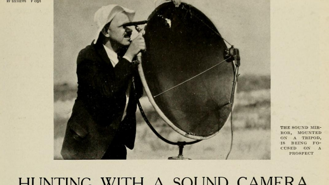 Scientific illustration of a sound camera, a large, dish-shaped piece of acoustic equipment.