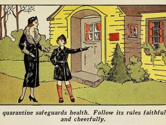 "Scientific illustration of a mother and child outside a home; the child is pointing to a red ""quarantine"" notice."
