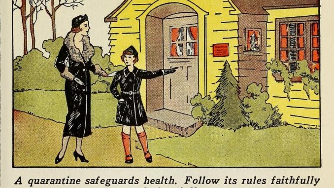 """Scientific illustration of a mother and child outside a home; the child is pointing to a red """"quarantine"""" notice."""