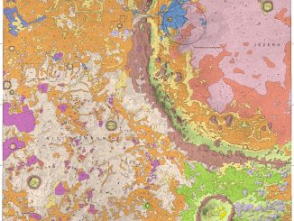 Scientific illustration of Jezero Crater and the Nili Planum on Mars, in the form of a detailed topographical map.