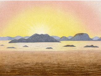 Scientific illustration of a vivid sunrise caused by the explosive eruption of Krakatoa.