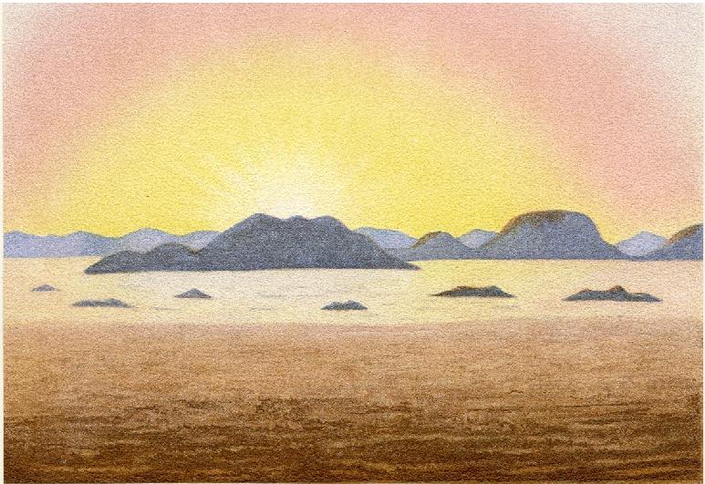 Science Art: <i>Circular Twilight Halo at Sunrise (Kreisförmiger Dämmerungsschein Bei Sonnenaufgang)</i> by Eduard Moritz Pechuël-Loesche, 1884