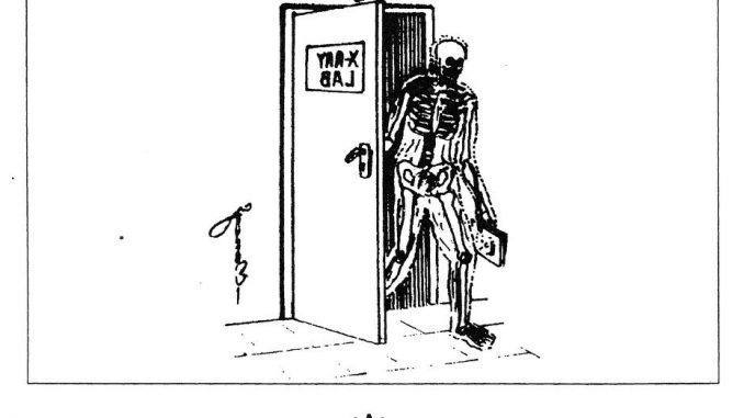 Scientific illustration - a cartoon of a tranparent human, a visible skeleton, emerging from an X-ray laboratory.
