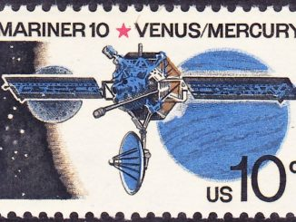 scientific illustration of Mariner 10 for a 10c stamp