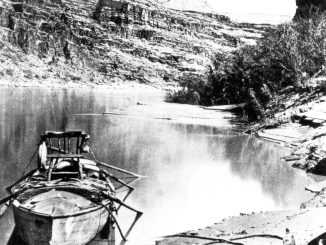 A scientific illustration - a photograph, really - of John Wesley Powell's boat, used to explore the Grand Canyon and the American West in 1871