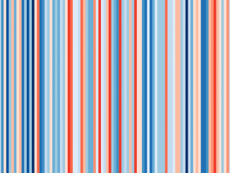 Scientific Illustration of a warming Scotland, from #ShowYourStripes data visualization project