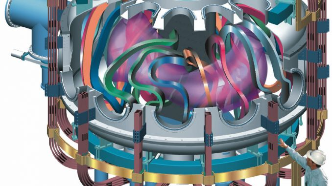 Scientific illustration of a fusion reactor, more efficient (and smaller) than a tokamak