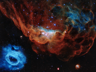 Scientific illustration of two nebulae in the Large Magellanic Cloud imaged by the Hubble Space Telescope