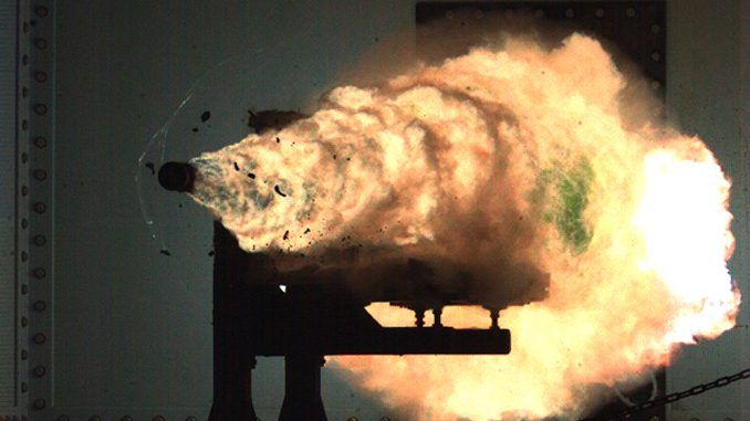 scientific illustration of a railgun projectile fired during a US Navy test run.
