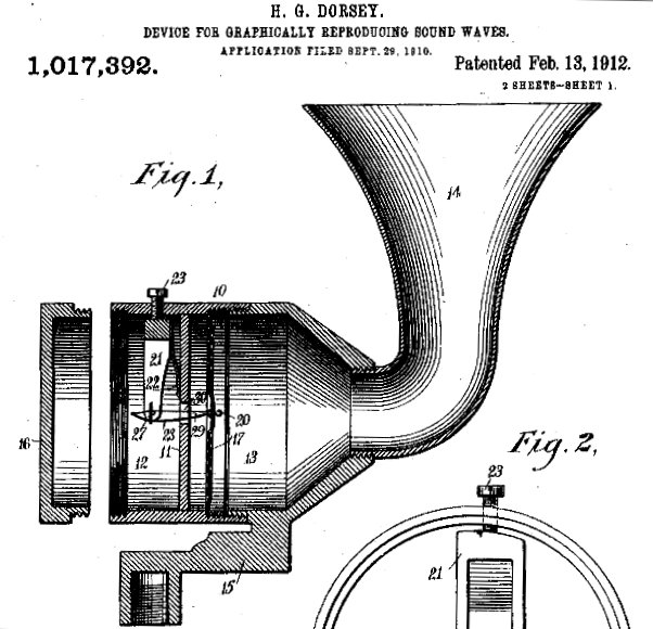 Scientific illustration of an acoustic invention, the Dorsey sound recorder