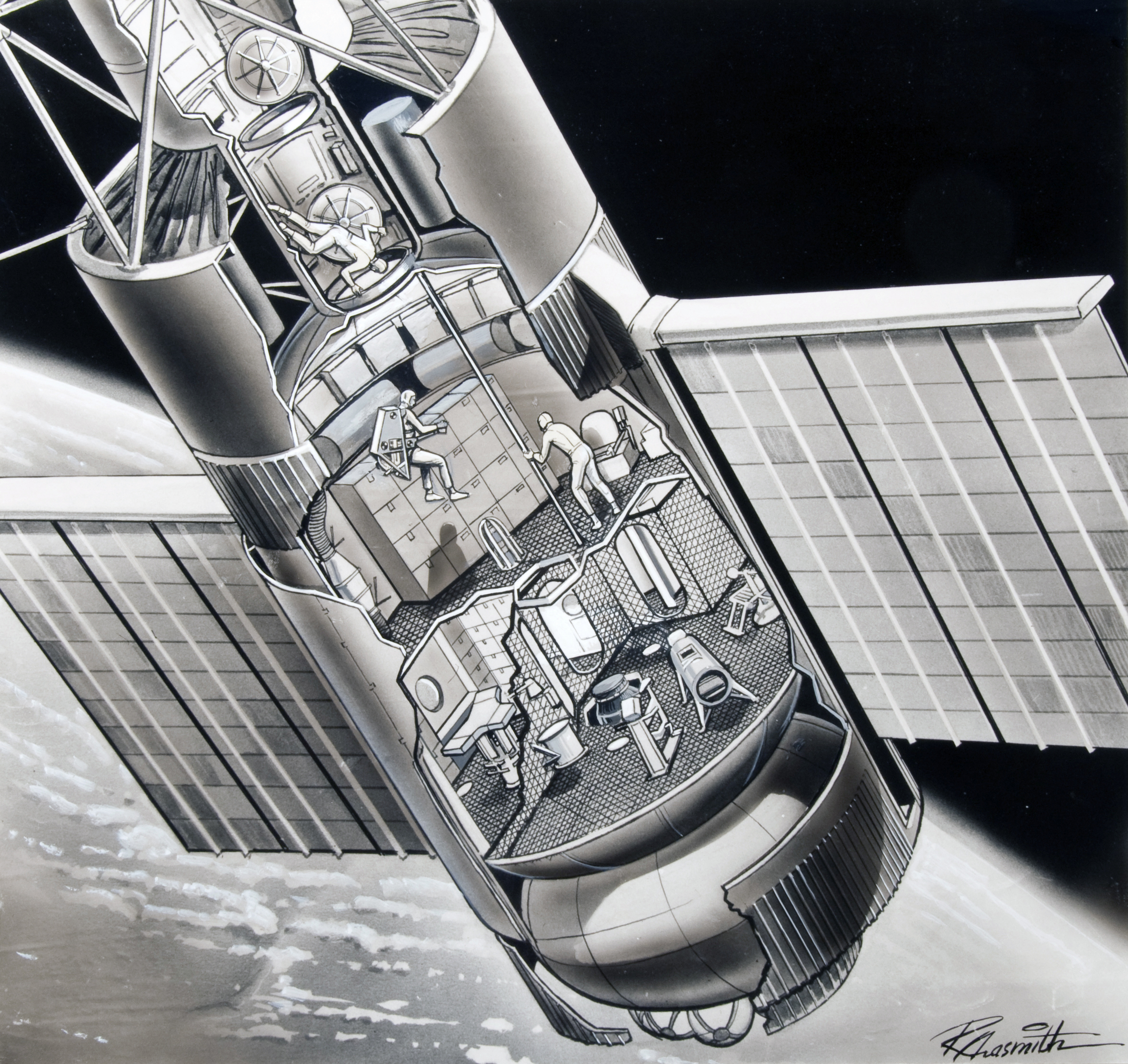 Scientific illustration of Skylab by Russ Arasmith, NASA