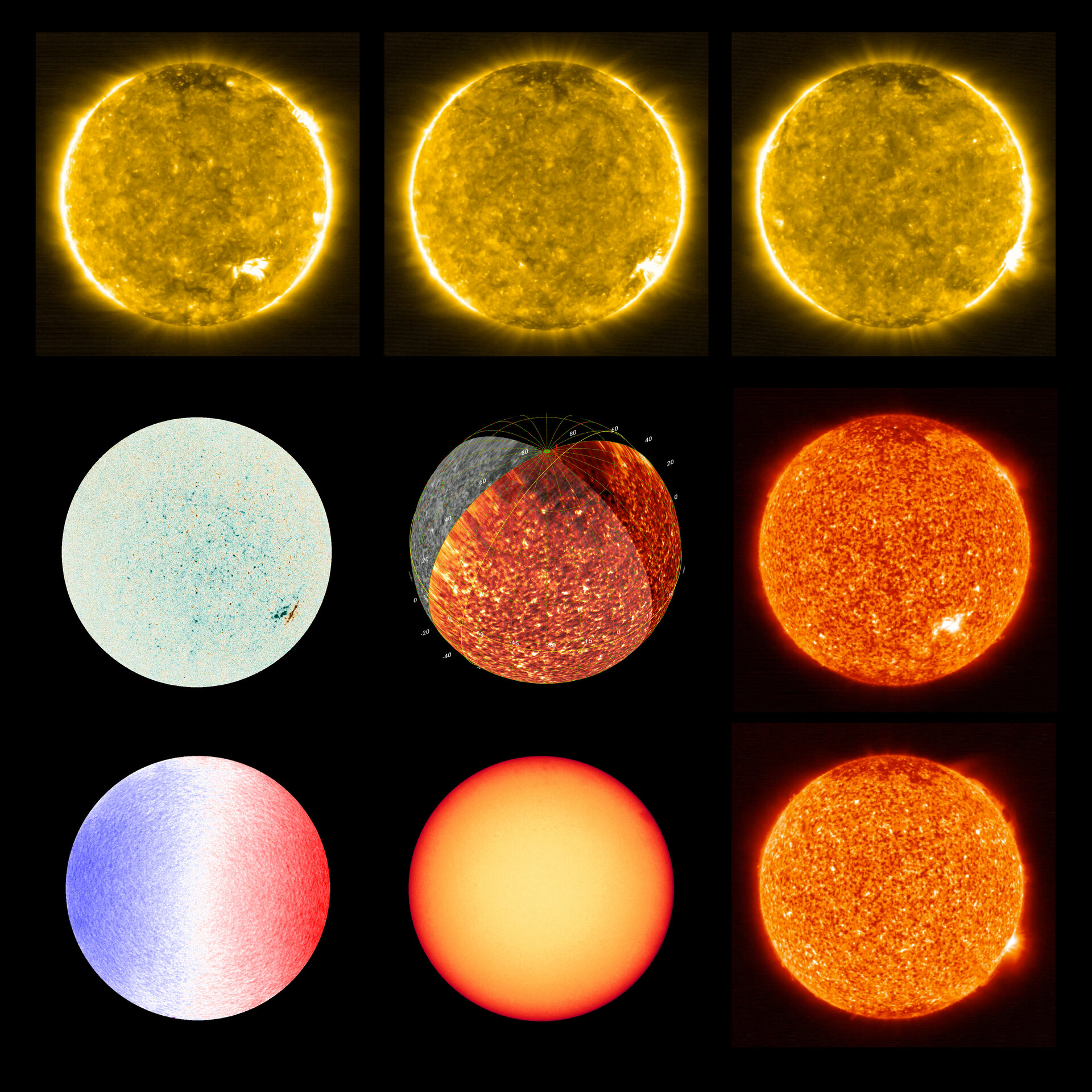 Scientific illustrations of the sun from the European Space Agency's Solar Observer mission