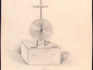 A scientific illustration of a dynamometer, from the New York Public Library, 1865