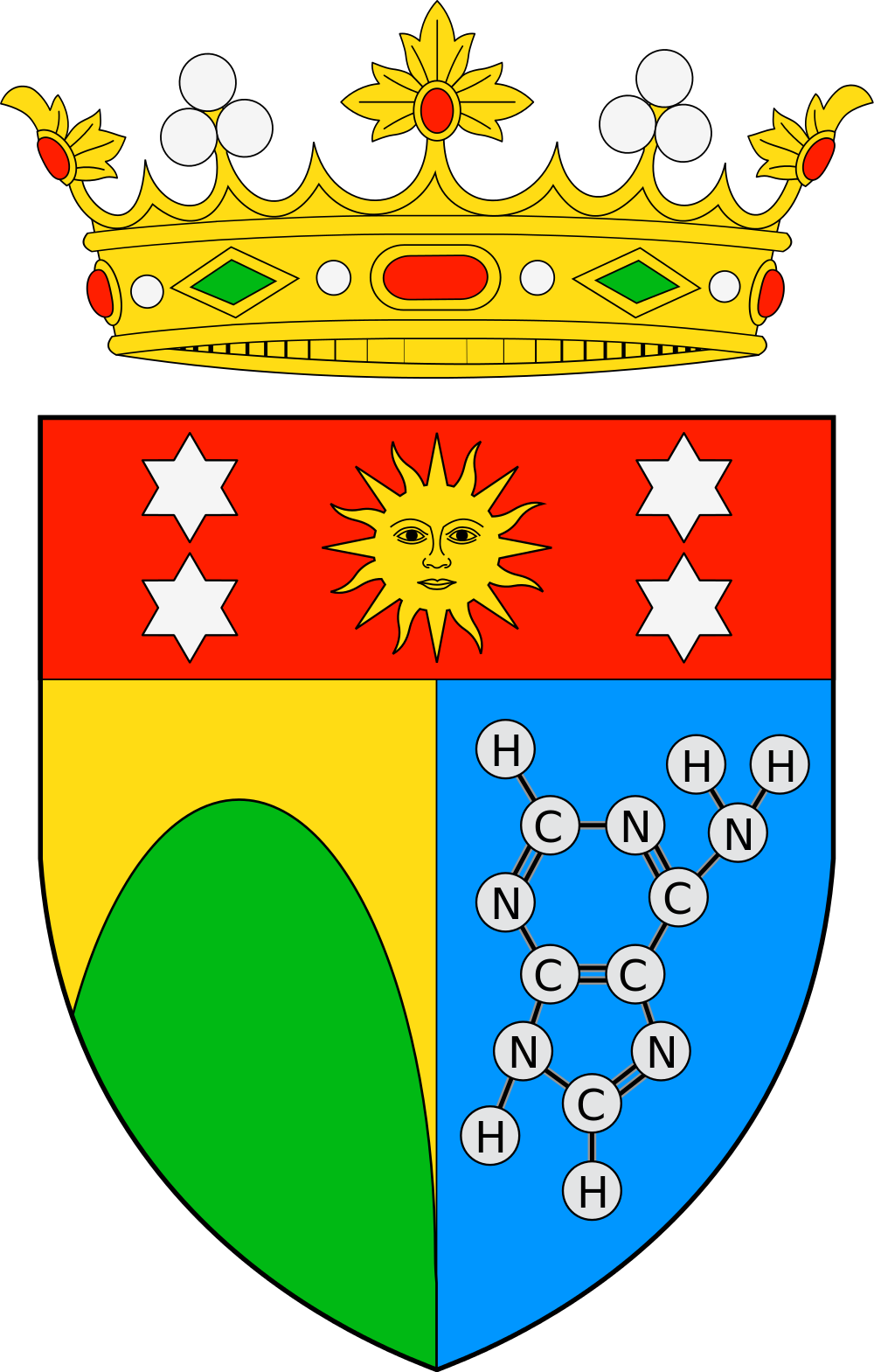 Scientific illustration in heraldry; the coat of arms of the Marquis d'Oró, showing a chemical diagram on the sinister side.