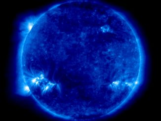 Scientific Illustration of solar storms, or sunspots, from the Solar and Heliospheric Observatory