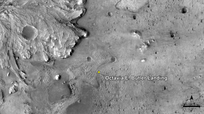 Scientific illustration of the Perseverance rover landing site named for science fiction author Octavia Butler.