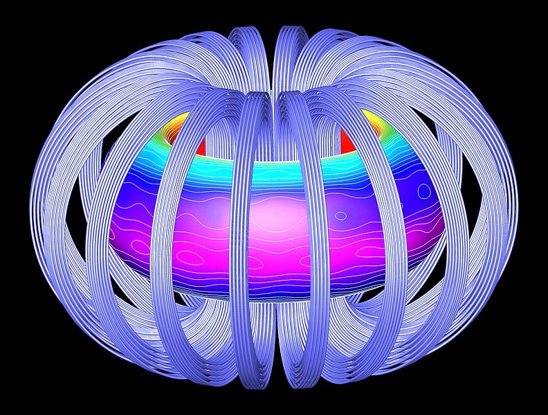 Scientific Illustration of a fusion reaction contained in a magnetic field.