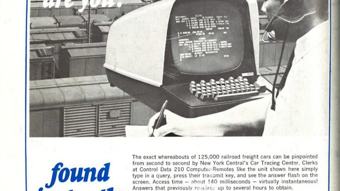 Scientific illustration of a 1960s computer system, the Control Data 210, as seen in a magazine advertisement.