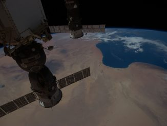 Scientific illustration of Libya and the International Space Station... by the ISS