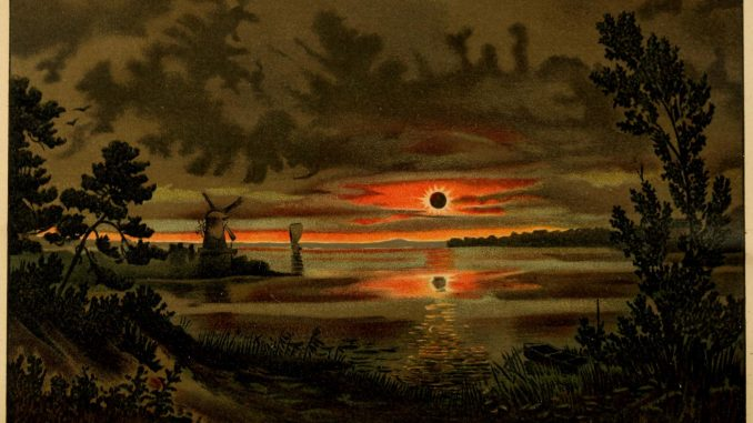 Scienitific Illustration of a total eclipse of the sun, a painting from 1897